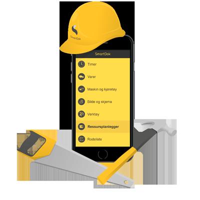 SmartDok mobil med bygghjälm, hammare och såg